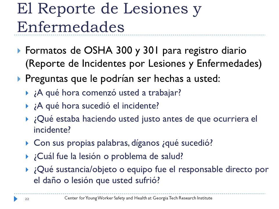 El Reporte de Lesiones y Enfermedades