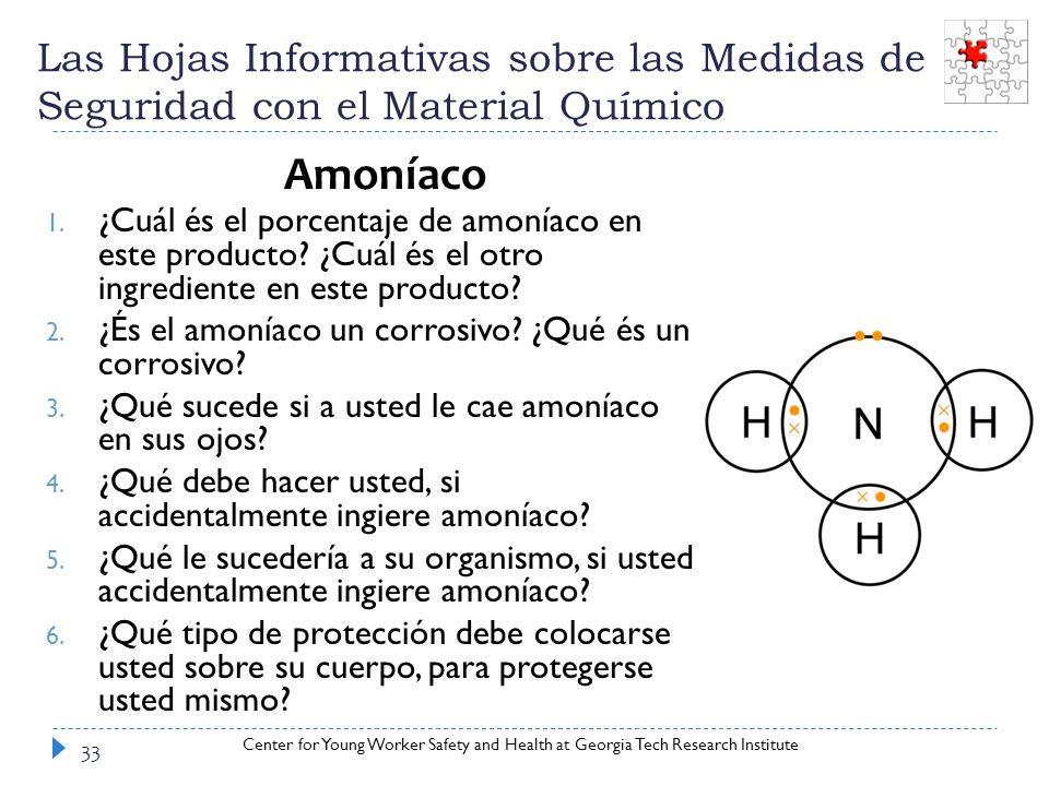 Las Hojas Informativas sobre las Medidas de Seguridad con el Material Químico