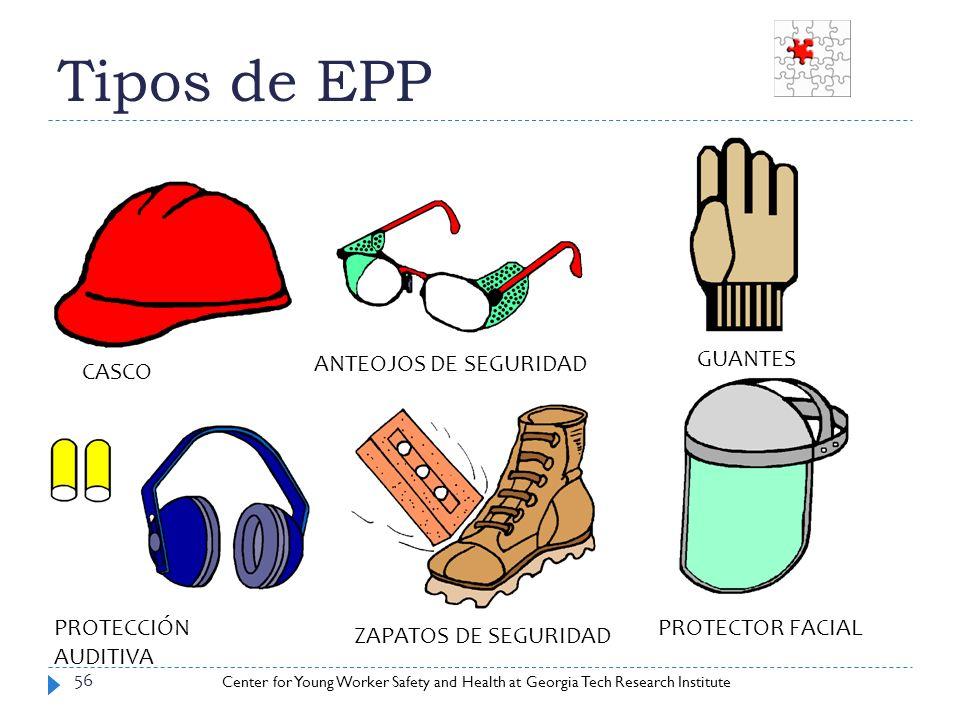 Tipos de EPP ANTEOJOS DE SEGURIDAD GUANTES CASCO PROTECCIÓN AUDITIVA