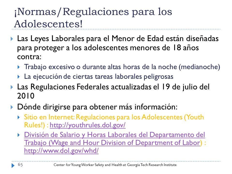 ¡Normas/Regulaciones para los Adolescentes!