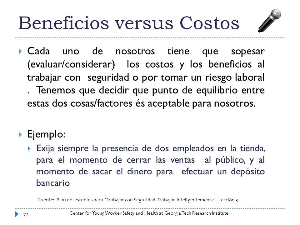 Beneficios versus Costos