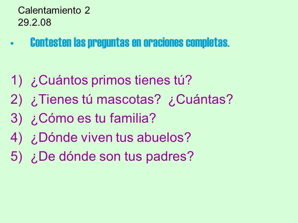 Contesten las preguntas en oraciones completas.