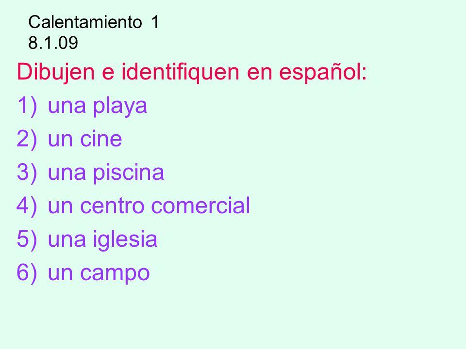 Dibujen e identifiquen en español: una playa un cine una piscina