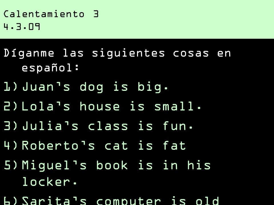 Miguel's book is in his locker. Sarita's computer is old (vieja)!