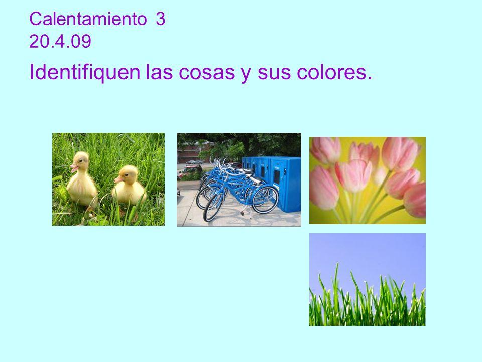 Identifiquen las cosas y sus colores.