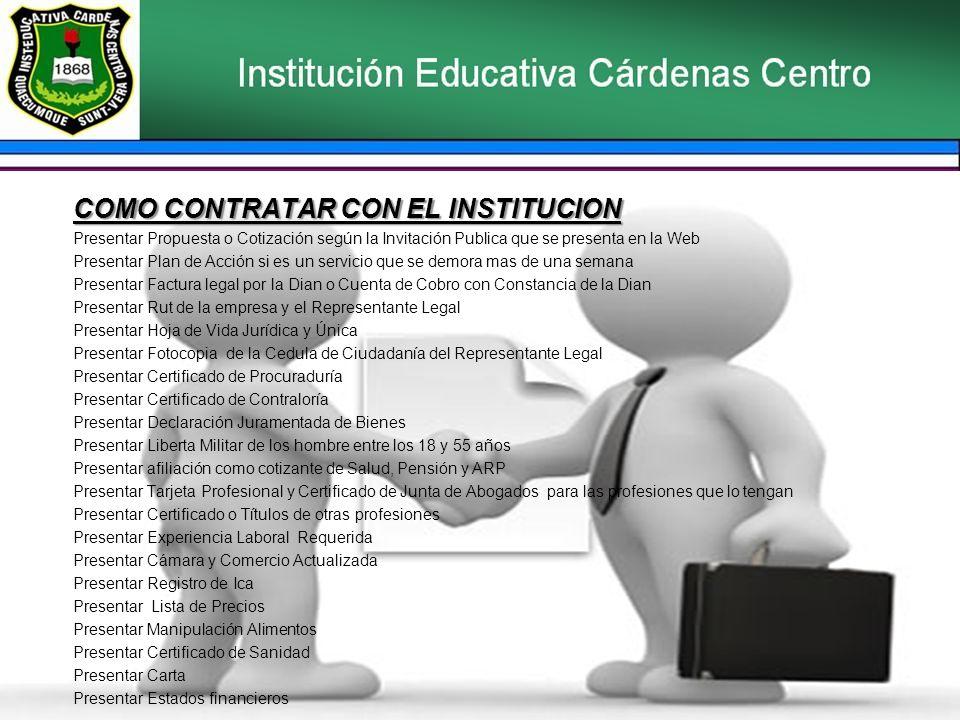 COMO CONTRATAR CON EL INSTITUCION
