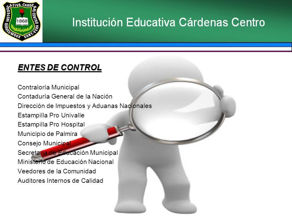 ENTES DE CONTROL Contraloría Municipal Contaduría General de la Nación