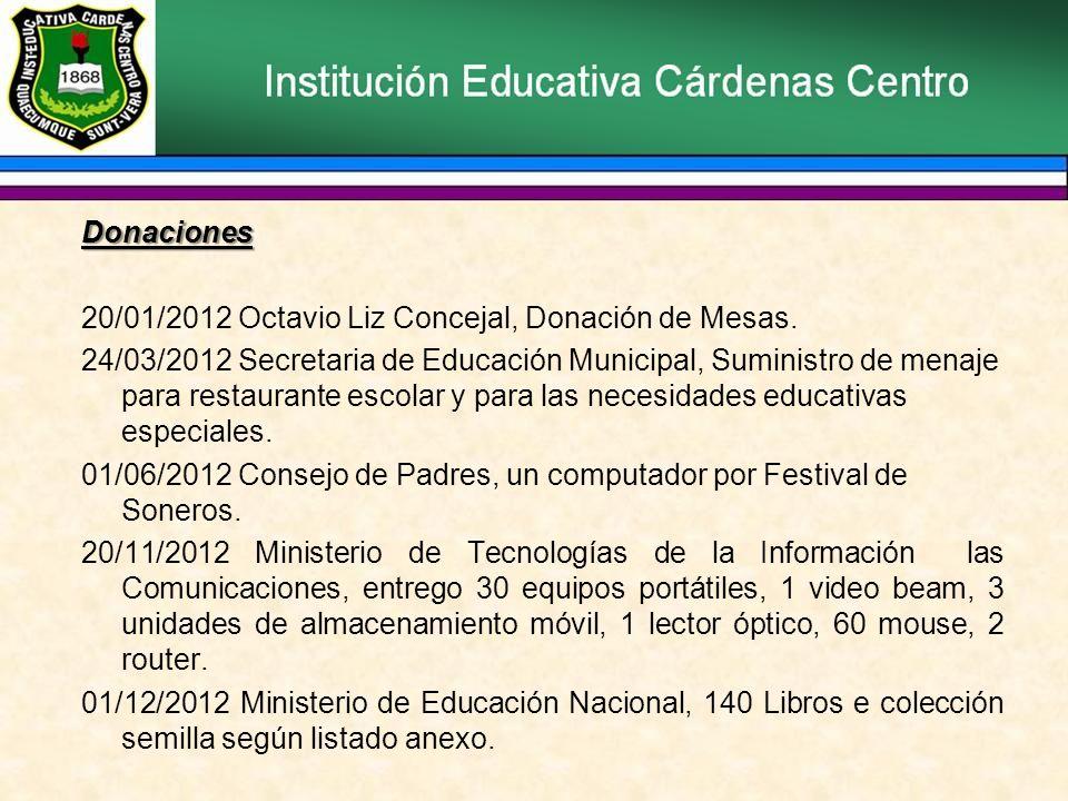 Donaciones 20/01/2012 Octavio Liz Concejal, Donación de Mesas