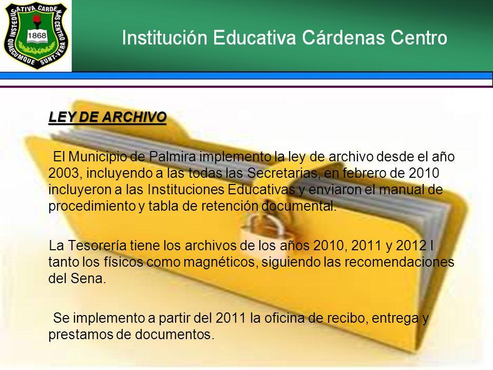 LEY DE ARCHIVO El Municipio de Palmira implemento la ley de archivo desde el año 2003, incluyendo a las todas las Secretarias, en febrero de 2010 incluyeron a las Instituciones Educativas y enviaron el manual de procedimiento y tabla de retención documental.