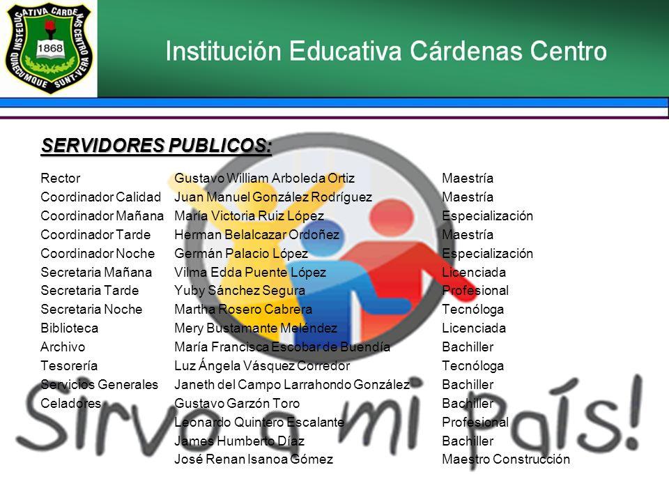 SERVIDORES PUBLICOS: Rector Gustavo William Arboleda Ortiz Maestría