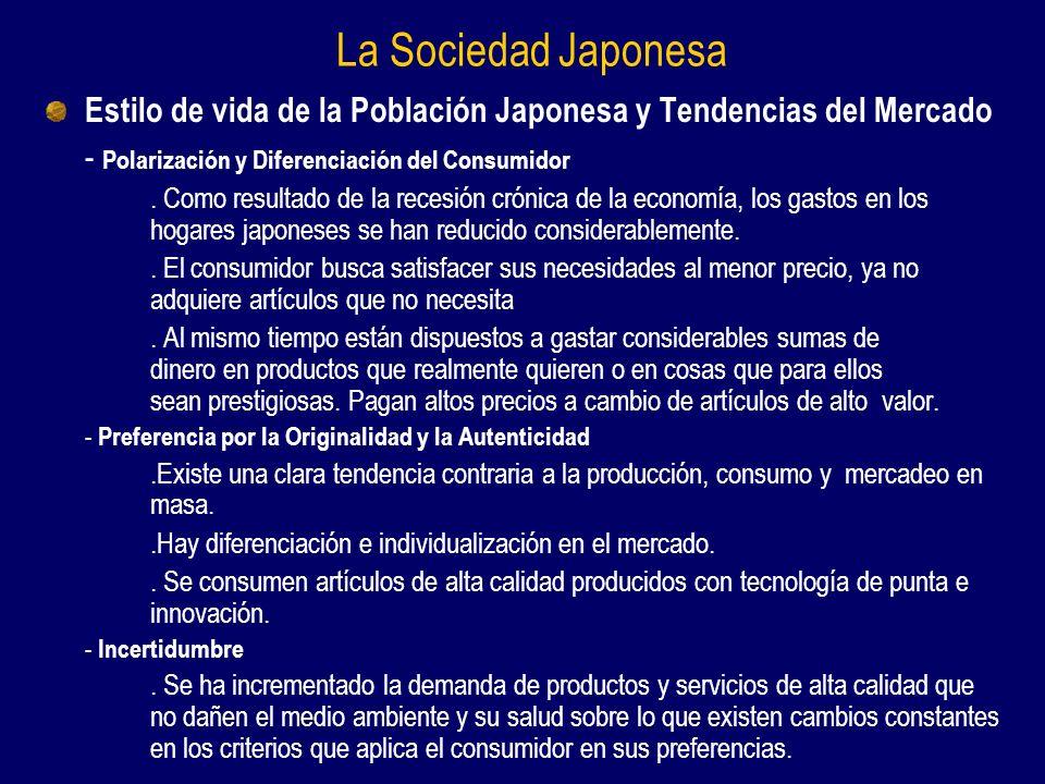 La Sociedad Japonesa Estilo de vida de la Población Japonesa y Tendencias del Mercado. - Polarización y Diferenciación del Consumidor.