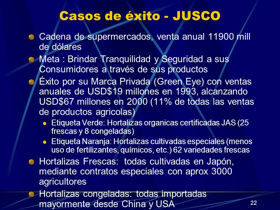 Casos de éxito - JUSCO Cadena de supermercados, venta anual 11900 mill de dólares.