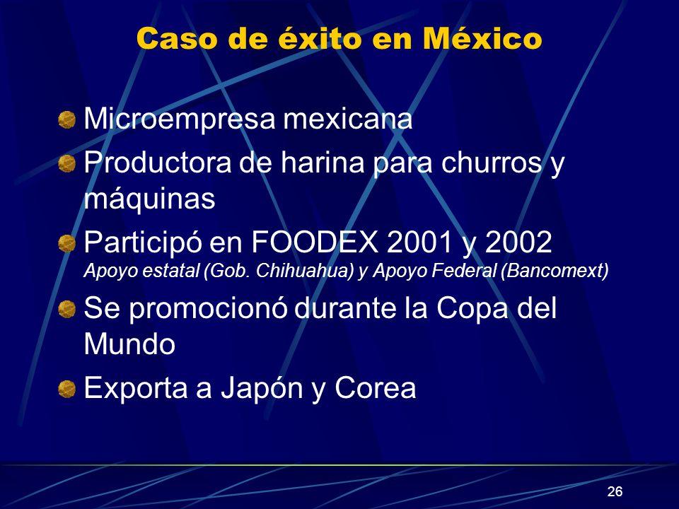Caso de éxito en México Microempresa mexicana. Productora de harina para churros y máquinas.