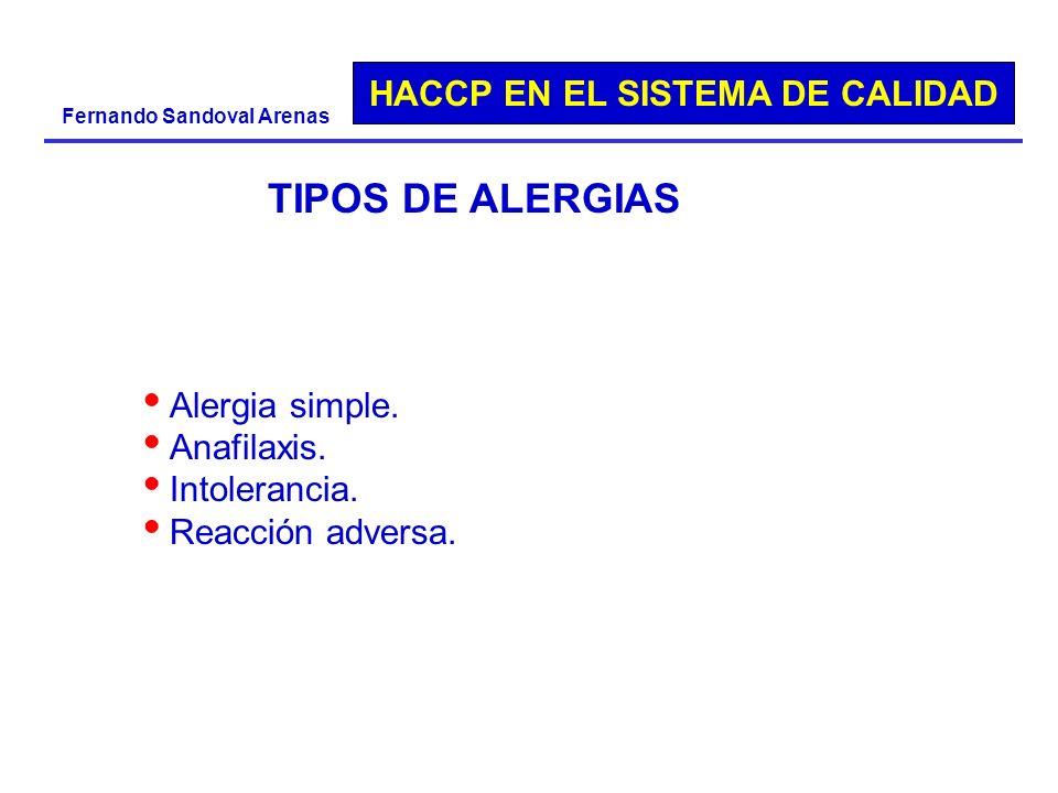 TIPOS DE ALERGIAS Alergia simple. Anafilaxis. Intolerancia.