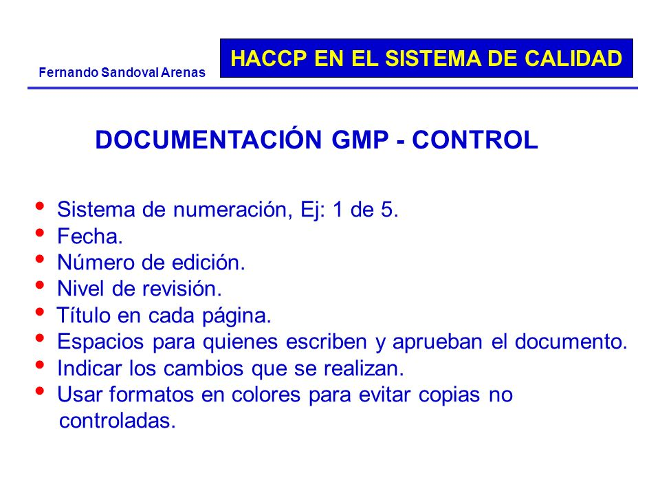 DOCUMENTACIÓN GMP - CONTROL