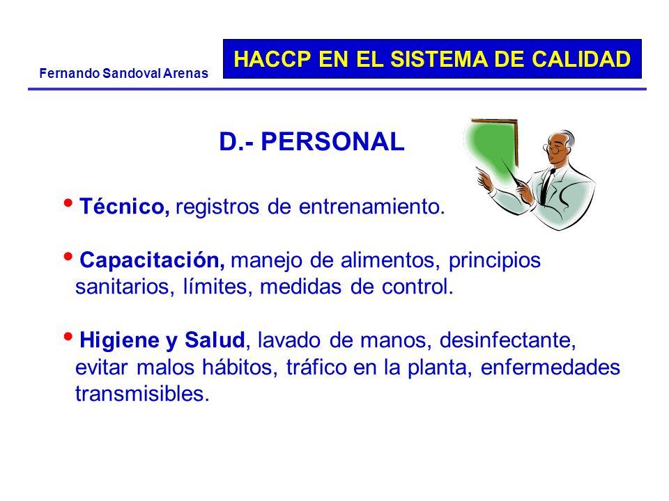 D.- PERSONAL Técnico, registros de entrenamiento.