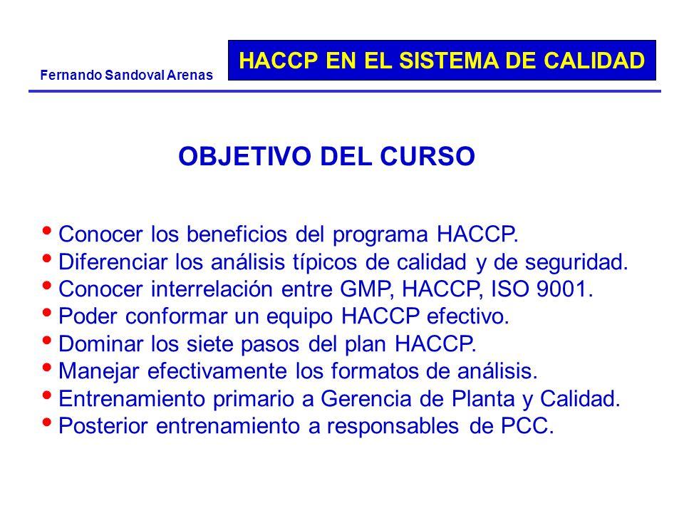 OBJETIVO DEL CURSO Conocer los beneficios del programa HACCP.