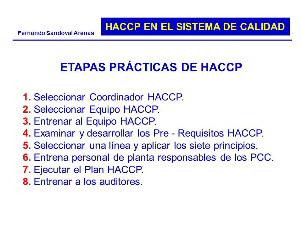 ETAPAS PRÁCTICAS DE HACCP