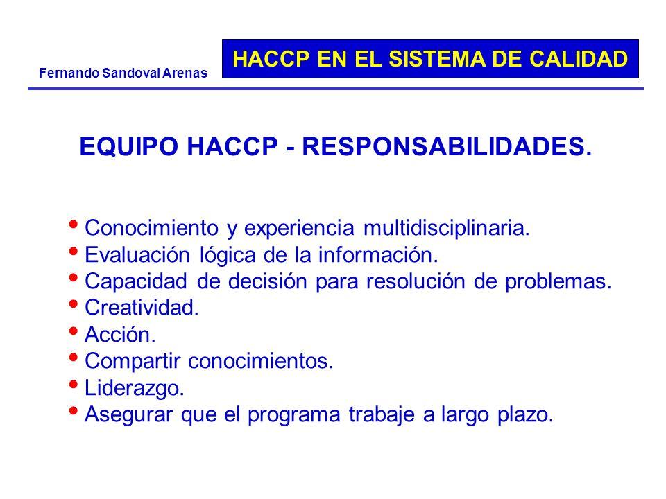 EQUIPO HACCP - RESPONSABILIDADES.