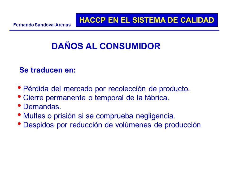 DAÑOS AL CONSUMIDOR Se traducen en: