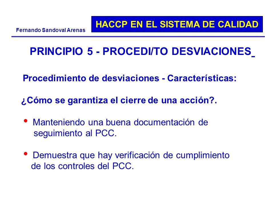 PRINCIPIO 5 - PROCEDI/TO DESVIACIONES
