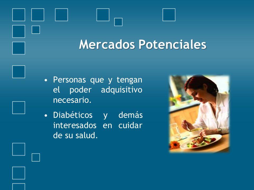 Mercados Potenciales Personas que y tengan el poder adquisitivo necesario.
