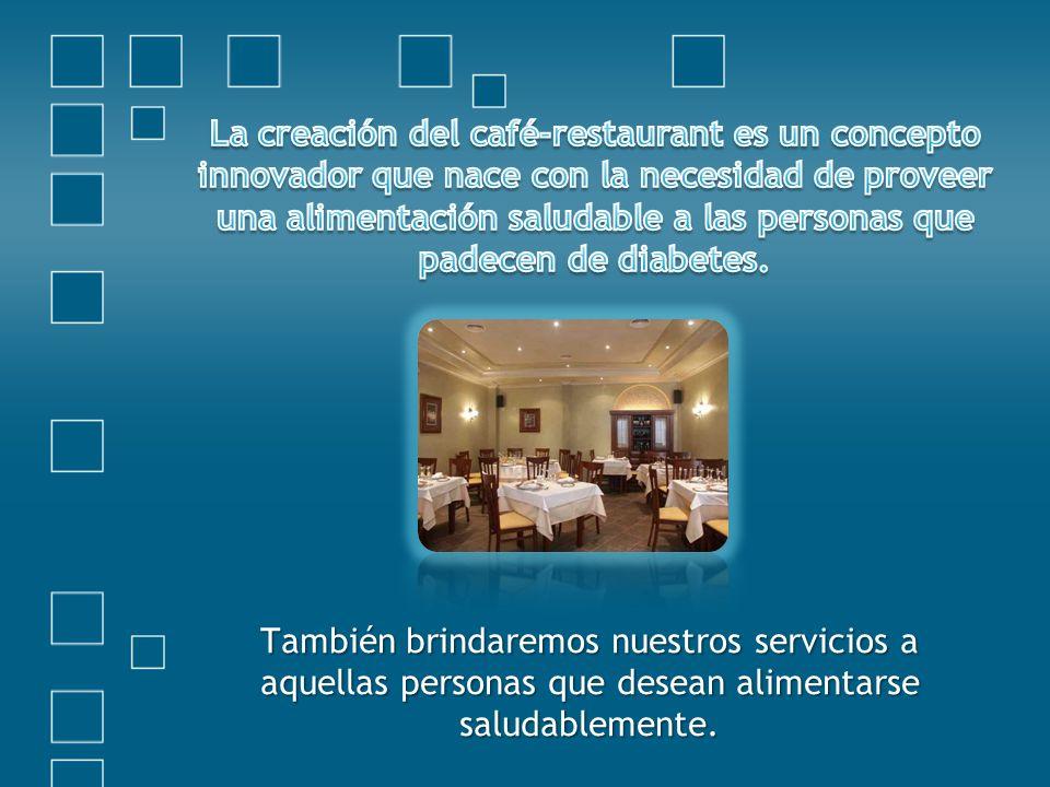 La creación del café-restaurant es un concepto innovador que nace con la necesidad de proveer una alimentación saludable a las personas que padecen de diabetes.