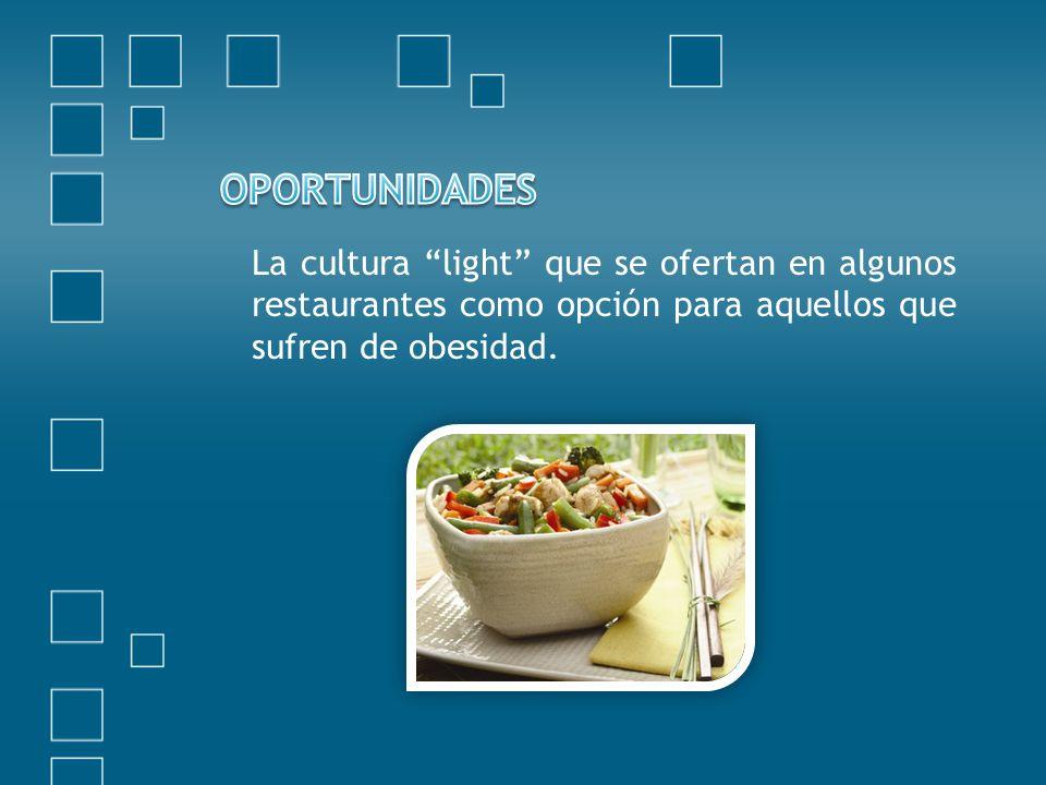 OPORTUNIDADES La cultura light que se ofertan en algunos restaurantes como opción para aquellos que sufren de obesidad.