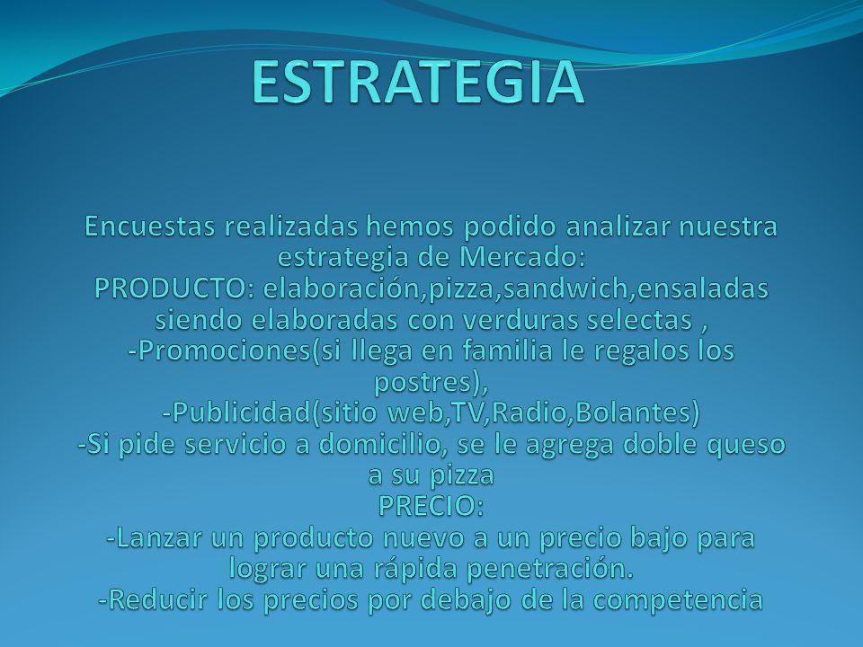 ESTRATEGIA Encuestas realizadas hemos podido analizar nuestra estrategia de Mercado: