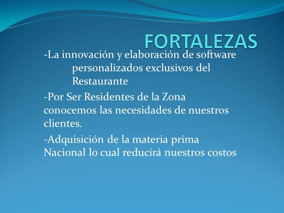 FORTALEZAS -La innovación y elaboración de software personalizados exclusivos del Restaurante.