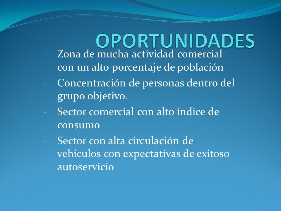 OPORTUNIDADES Zona de mucha actividad comercial con un alto porcentaje de población. Concentración de personas dentro del grupo objetivo.