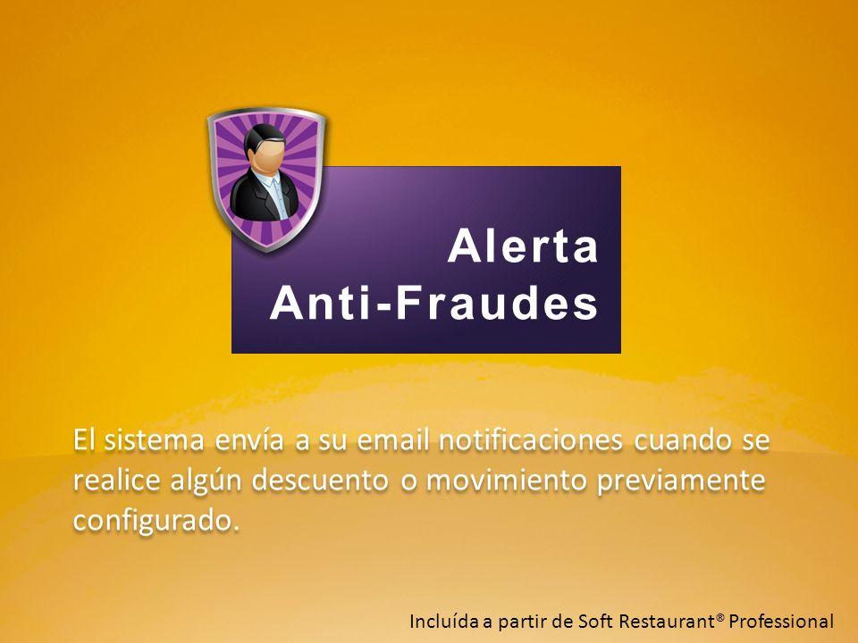 Alerta Anti-Fraudes. El sistema envía a su email notificaciones cuando se realice algún descuento o movimiento previamente configurado.