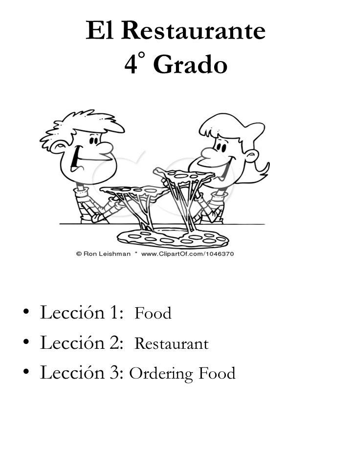 El Restaurante 4° Grado Lección 1: Food Lección 2: Restaurant