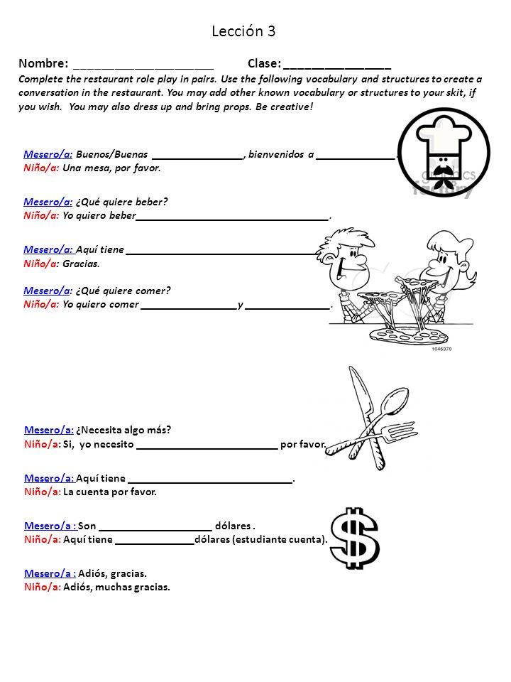 Lección 3 Nombre: _____________________ Clase: ________________