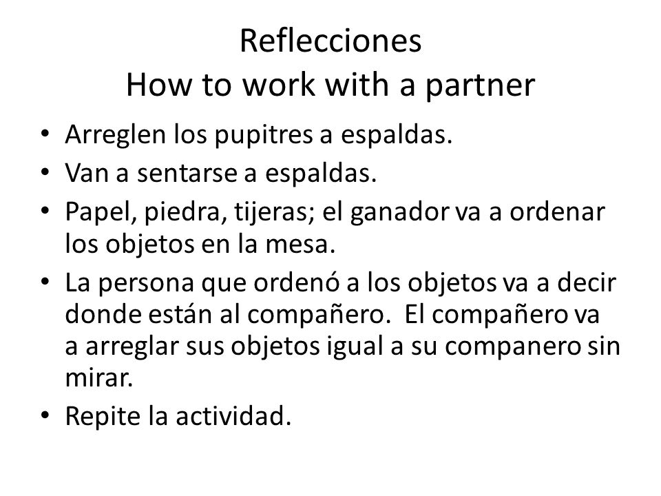 Reflecciones How to work with a partner