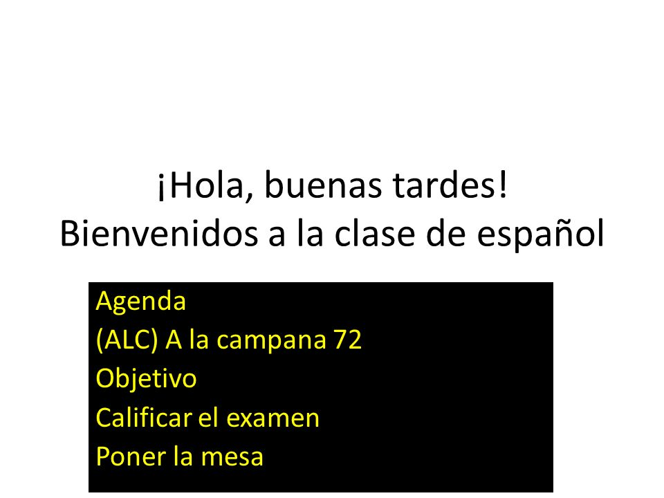 ¡Hola, buenas tardes! Bienvenidos a la clase de español