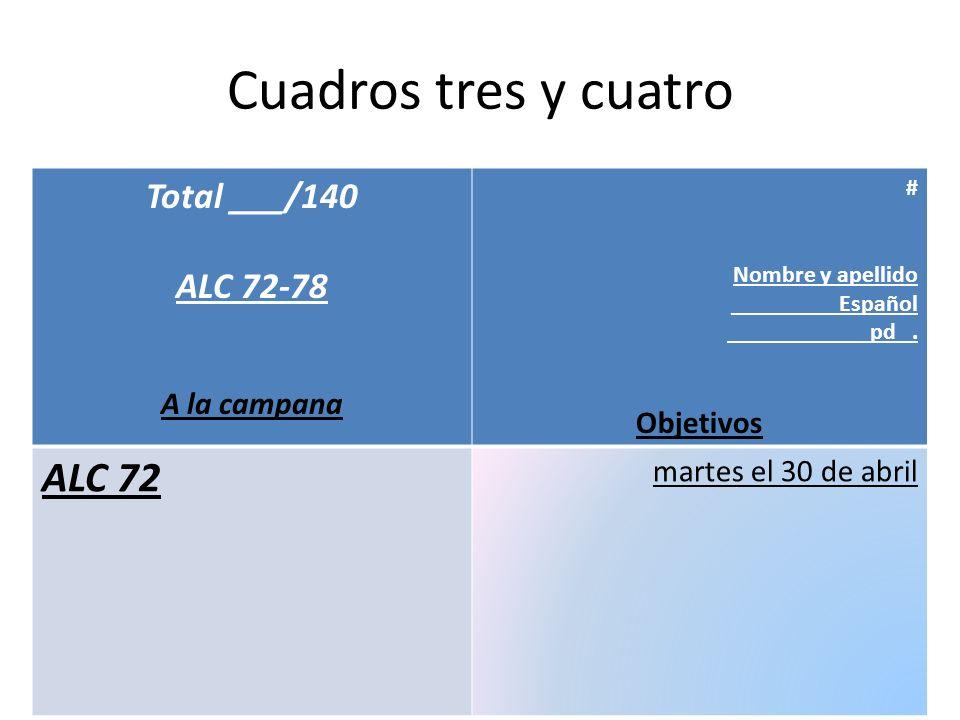 Cuadros tres y cuatro ALC 72 Total ___/140 ALC 72-78 A la campana
