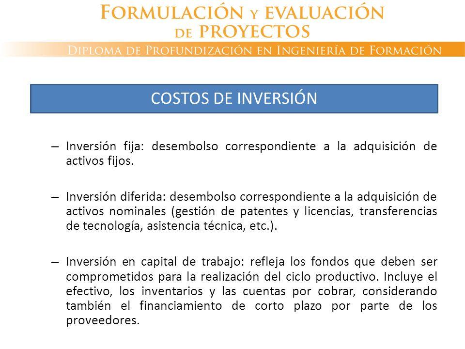COSTOS DE INVERSIÓN Inversión fija: desembolso correspondiente a la adquisición de activos fijos.