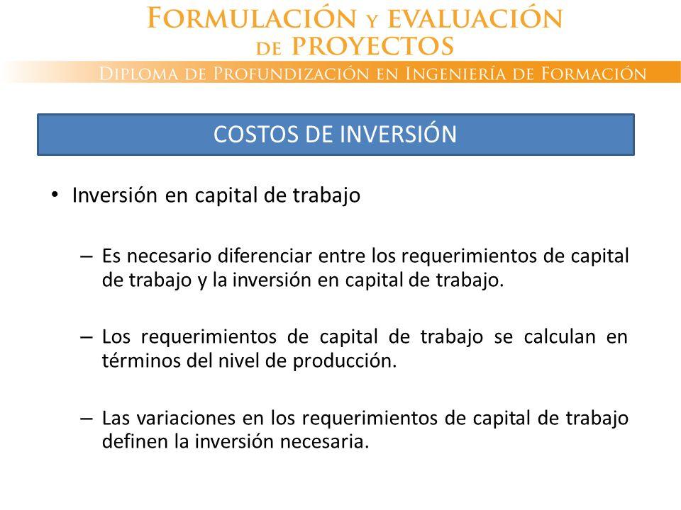 COSTOS DE INVERSIÓN Inversión en capital de trabajo