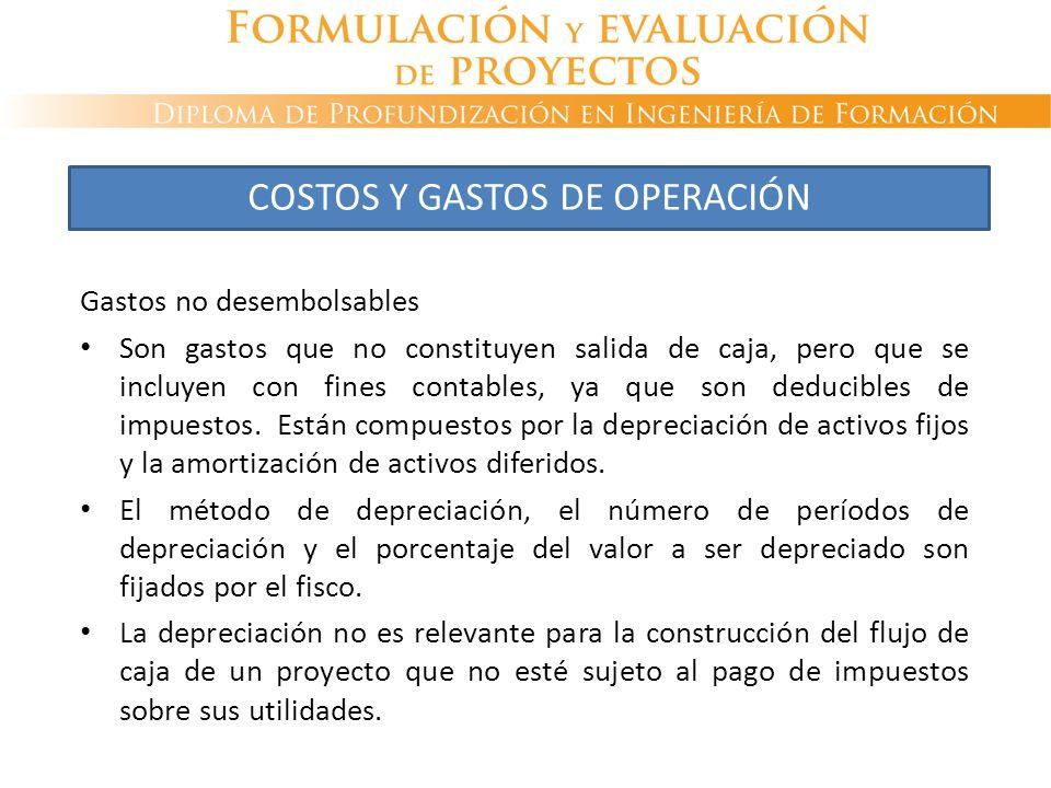 COSTOS Y GASTOS DE OPERACIÓN