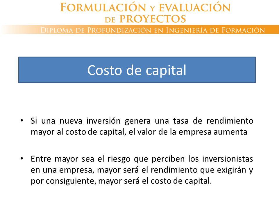 Costo de capital Si una nueva inversión genera una tasa de rendimiento mayor al costo de capital, el valor de la empresa aumenta.