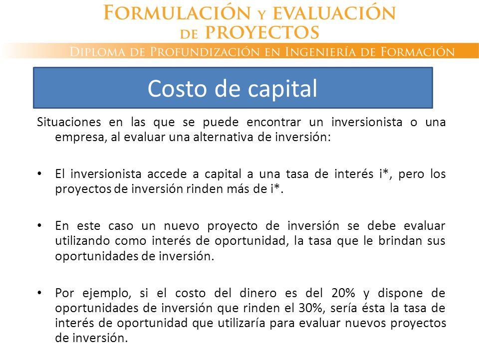 Costo de capital Situaciones en las que se puede encontrar un inversionista o una empresa, al evaluar una alternativa de inversión: