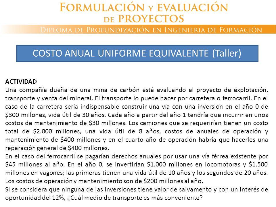 COSTO ANUAL UNIFORME EQUIVALENTE (Taller)