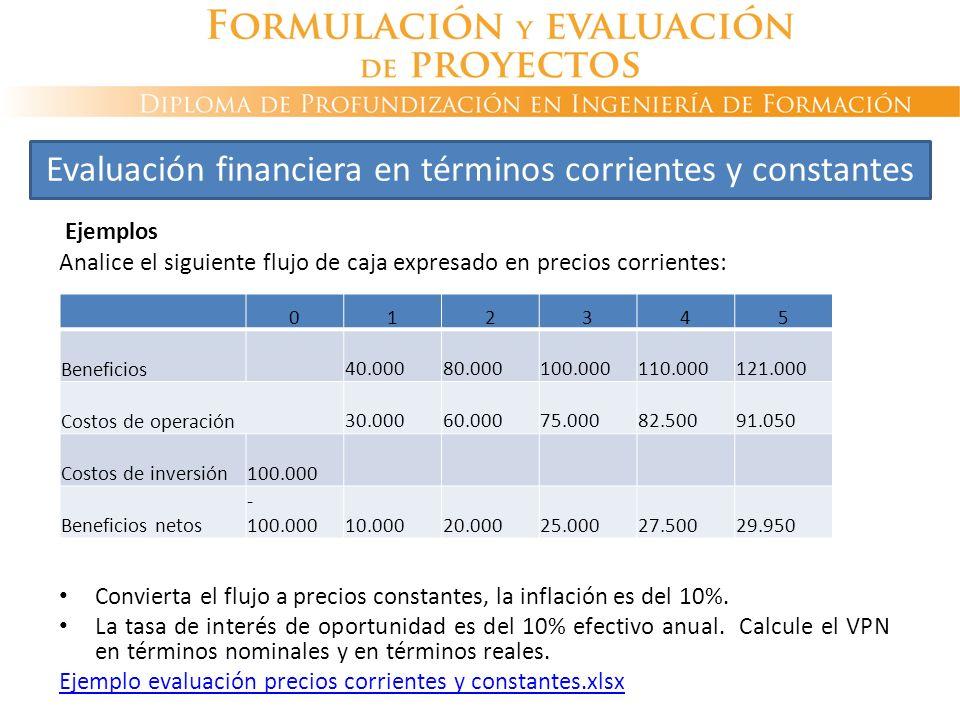 Evaluación financiera en términos corrientes y constantes