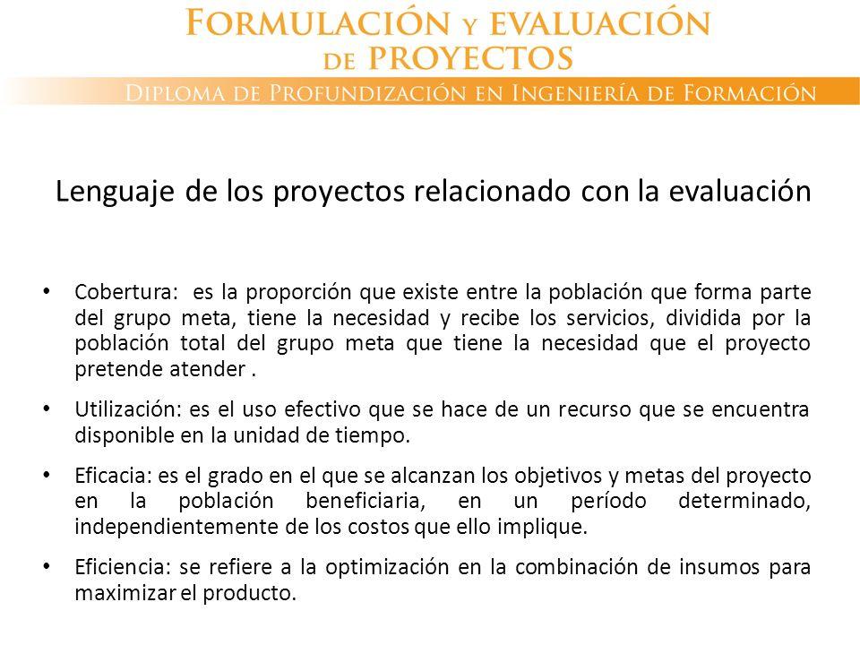 Lenguaje de los proyectos relacionado con la evaluación