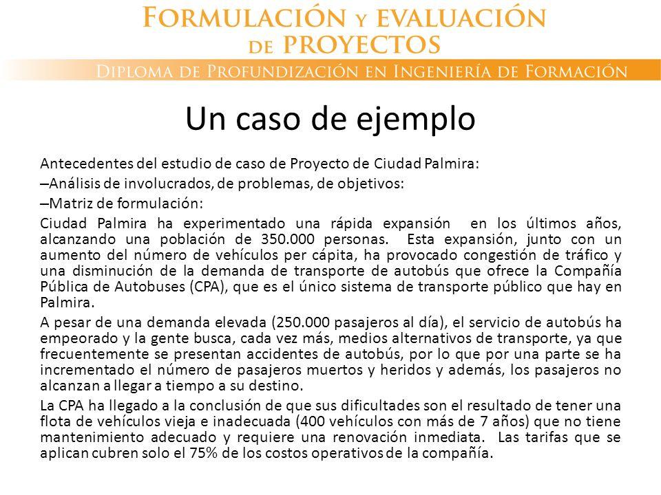 Un caso de ejemplo Antecedentes del estudio de caso de Proyecto de Ciudad Palmira: Análisis de involucrados, de problemas, de objetivos: