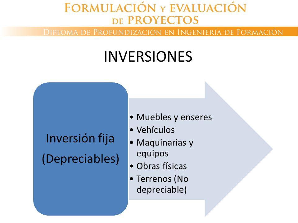 INVERSIONES 91 (Depreciables) Inversión fija Muebles y enseres