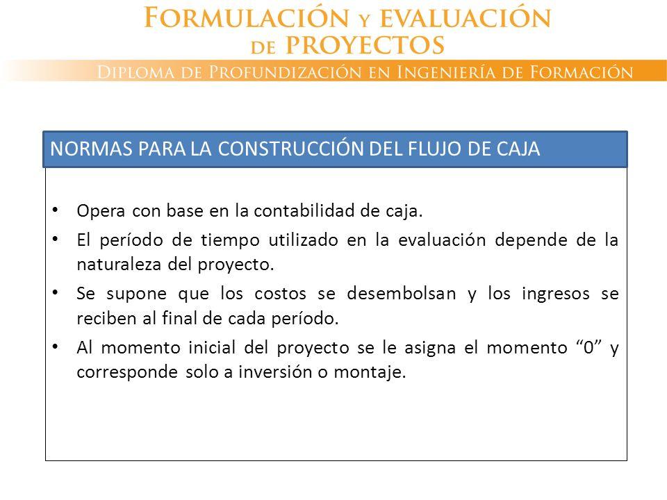 NORMAS PARA LA CONSTRUCCIÓN DEL FLUJO DE CAJA