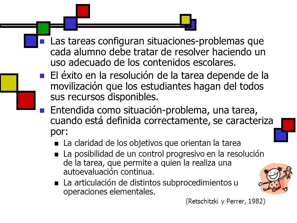 Las tareas configuran situaciones-problemas que cada alumno debe tratar de resolver haciendo un uso adecuado de los contenidos escolares.