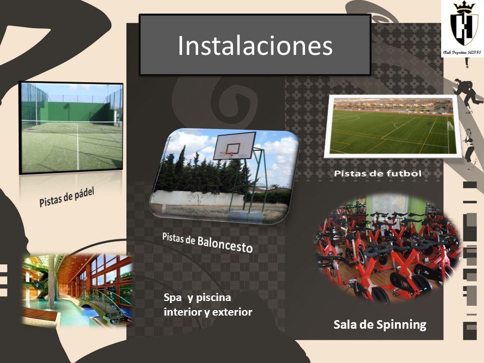 Instalaciones Pistas de futbol Sala de Spinning Pistas de pádel